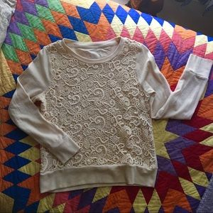 Embroidered lace pullover sweatshirt